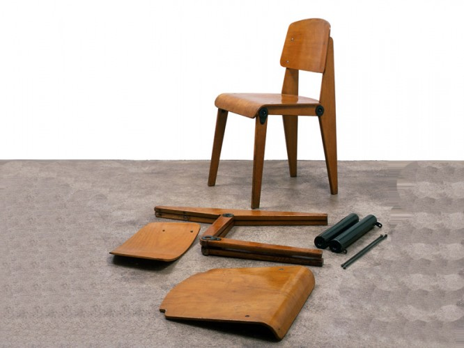 1950 demountable chair cb22 in metal and wood by jean - Chaise standard jean prouve ...