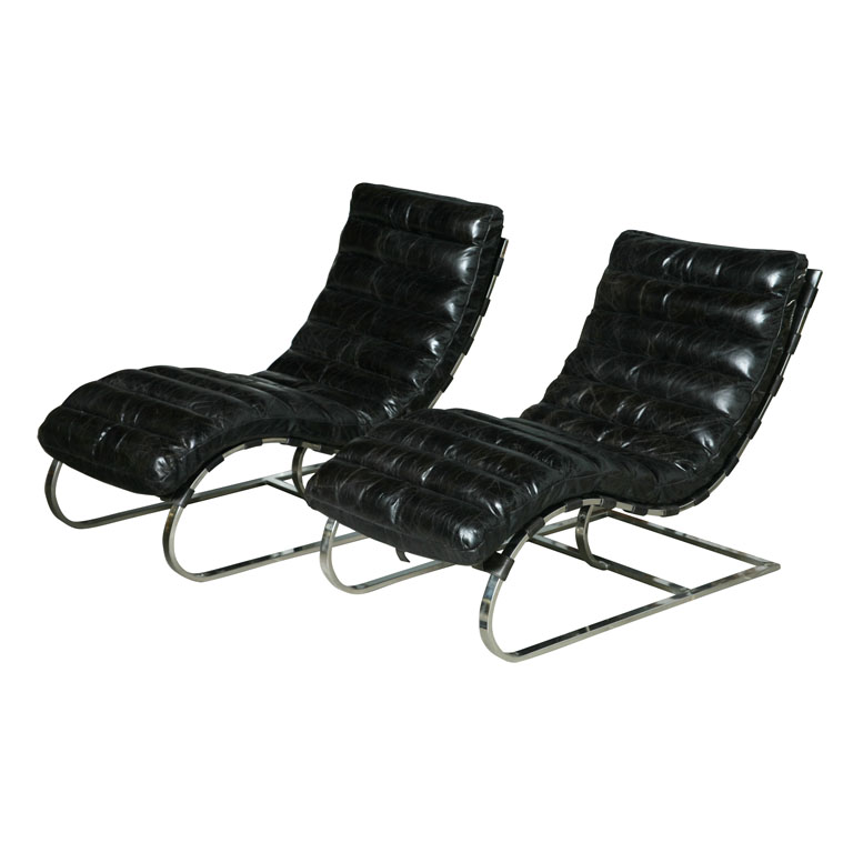 1960_ Polished Chrome U0026 Leather Lounge Chairs By Michel Boyer